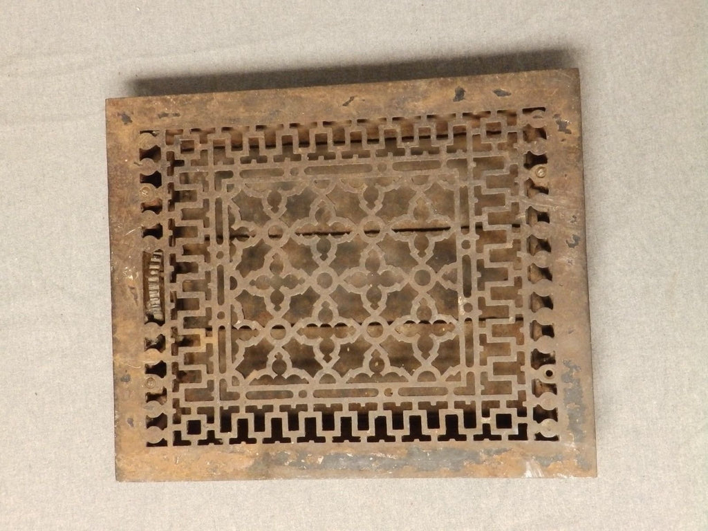 Large Antique Cast Iron Gothic Heat Grate Register Vent Old Vtg Hardware 609-16