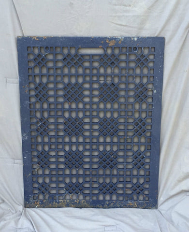 Antique Blue Cast Iron Cold Air Return Vent Vintage Waffle Hardware 933-16