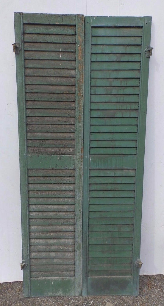 Pair Antique Window Wood Louvered Shutter Shabby Old Chic Vtg 66x15 374-17R