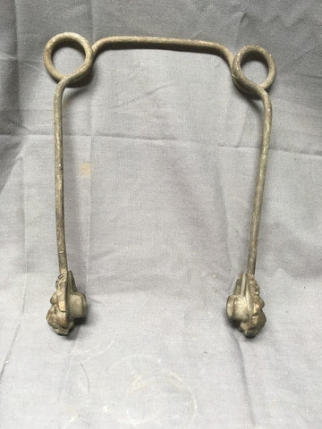 Antique Brass Wire Spring Victorian Toilet Paper Holder Lions Face Chic 461-17E