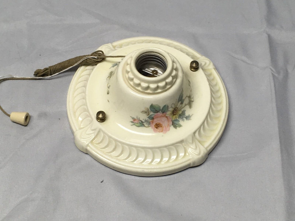 Vtg Flush Mount Porcelain Ceiling Light Shabby Floral Chic Old Sconce 653-17E