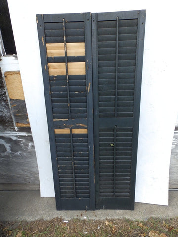 "Vintage Pr House Window Wood Louvered Shutter Shabby Old Chic 62"" X 14"" 4906-15"