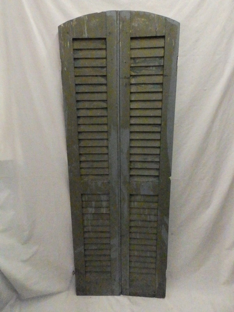 Pair Antique Semi Arch Top House Window Wood Louver Shutters Chic 63X11 586-17P