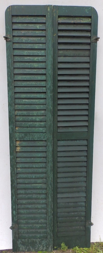 Antique Pair Rounded Arched Wood Louvered Shutter Shabby Vtg Chic 15-17P