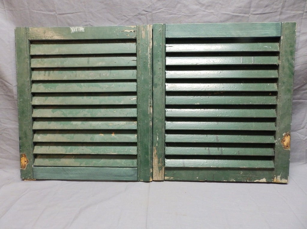 Small Pair Antique House Window Wood Louvered Shutters 20x18 Shabby Vtg 689-18P