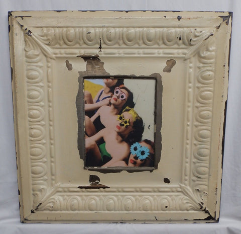Antique Repurposed TIN CEILING Metal 8x10 Cream Picture Frame Recycled 4125-15