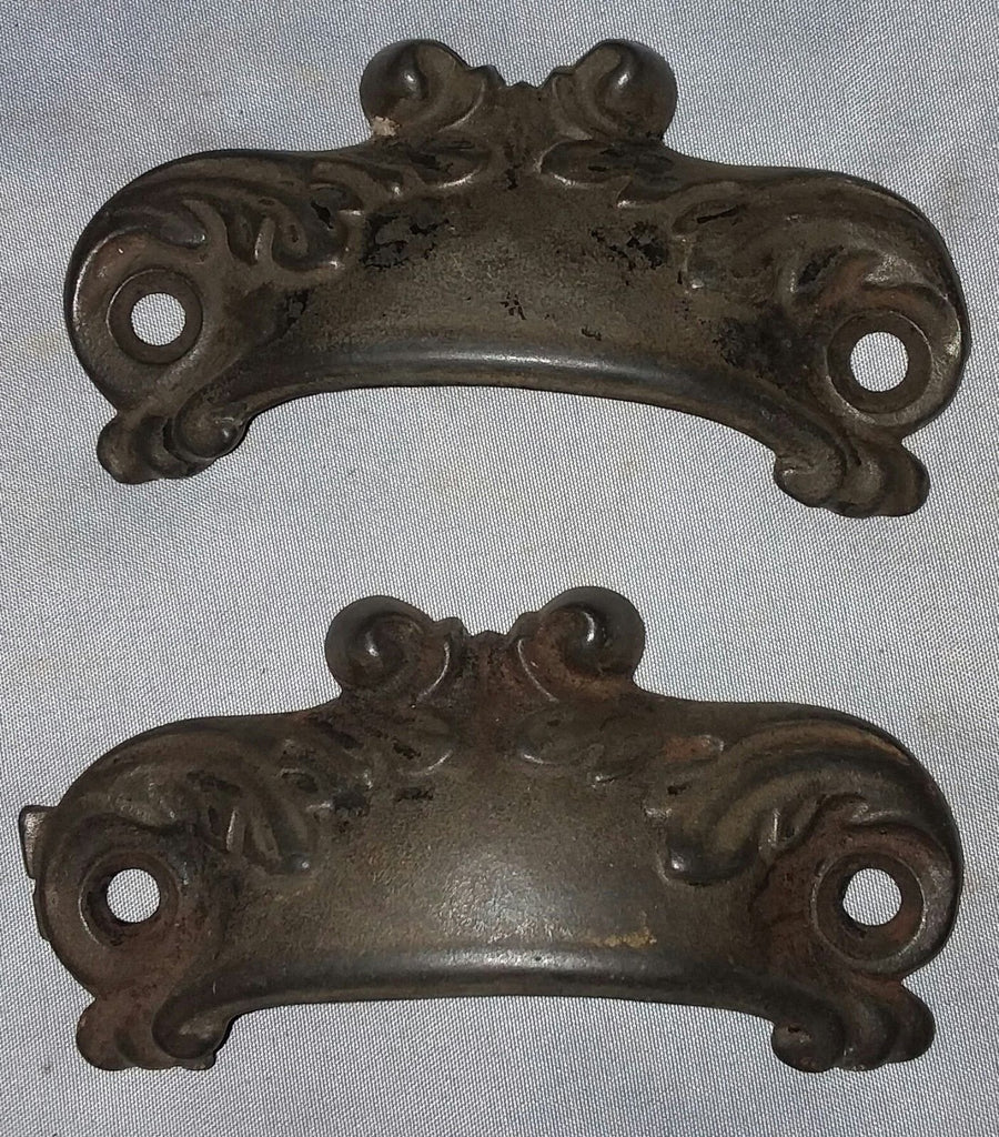 Pair Kitchen Cupboard Drawer Bin Pulls Decorative 3 3/4 x 1 1/4           26-18F