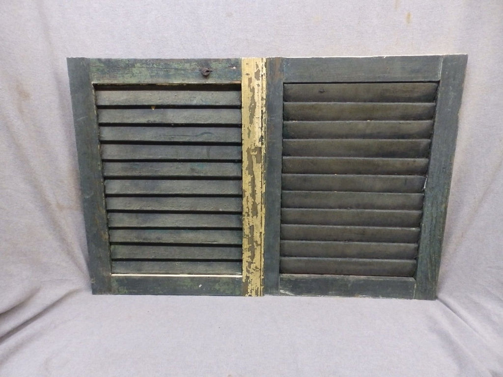 Pair Small Antique Window Wood Louvered Shutter Vintage Saloon 21x16 246-17P