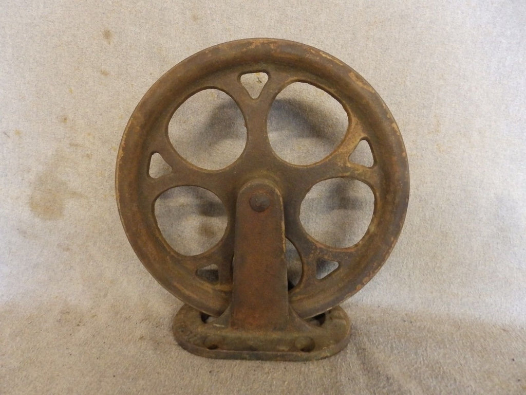 Antique Industrial Theater Stage Curtain Cast Iron Pulley Steampunk Vtg 432-17P