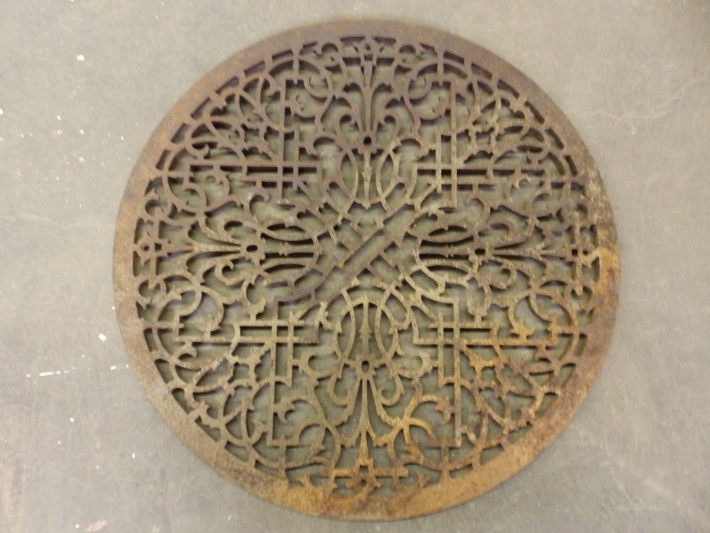 Large Antique Cast Iron Round Cold Air Return Grate Grill Vent 324-17R