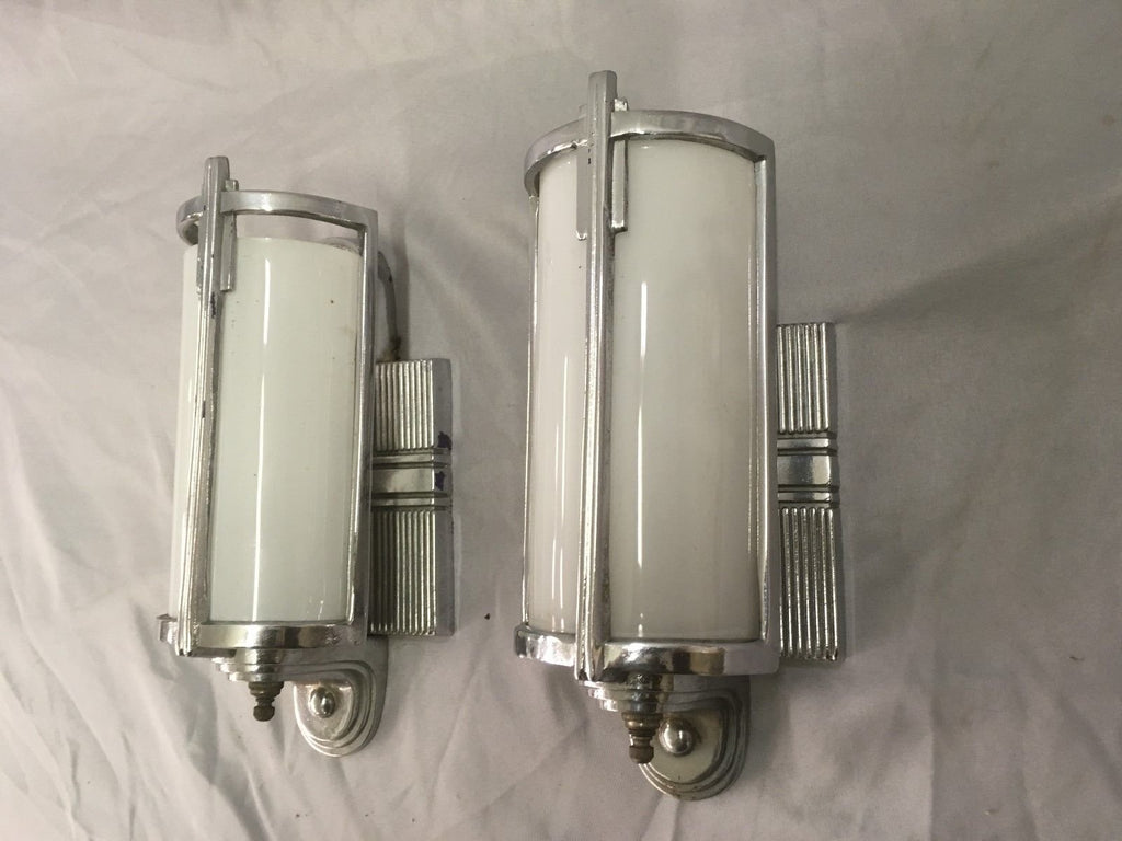 Vtg  Chrome Sconce Pair Curved Milk Glass Shades Art Deco Vanity Lincoln 71-18E
