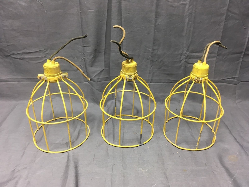 1 Vintage Industrial Yellow Coated Wire Cage Work Light Fixture Old ...