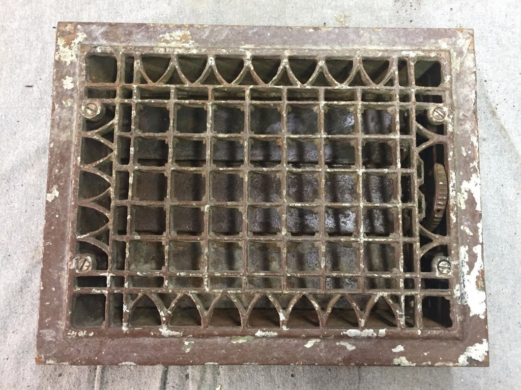 Antique Cast Iron Heat Grate Floor Vent Register Vtg Gothic Old 12x9 17-17B