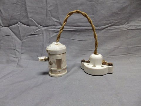Vtg Industrial White Porcelain Pendant Light Old 445-18P