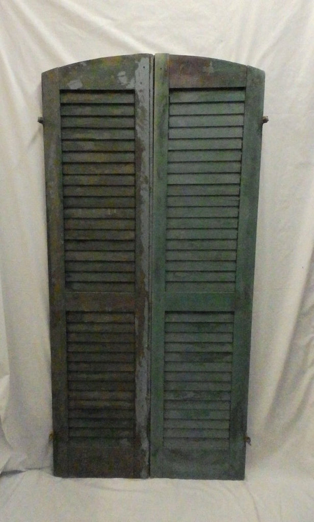 Pair Antique Semi Arch Top House Window Wood Louver Shutters Chic 63X15 585-17P