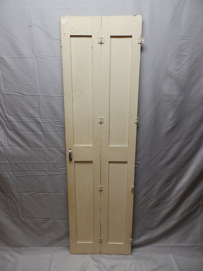 "Antique Bi-fold Wood Paneled Cabinet Door 63""x18"" Divider Interior Vtg 101-18P"