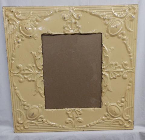 Antique Repurposed TIN CEILING Metal 11x14 Butterscotch Picture Frame 4127-15