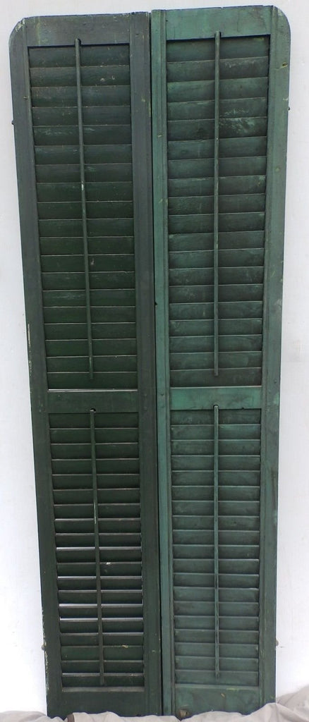 Antique Pair Rounded Arched Wood Louvered Shutter Shabby Vtg Chic 14-17P