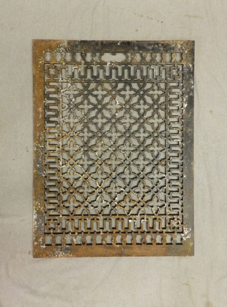 Antique Cold Air Return Heat Grate Gothic Pattern Vent Old Vintage 29x21 227-17P