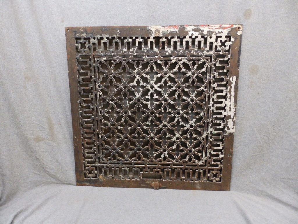 "Antique Cold Air Return With Damper Gothic Floor Wall Vintage 24""Square 252-17P"