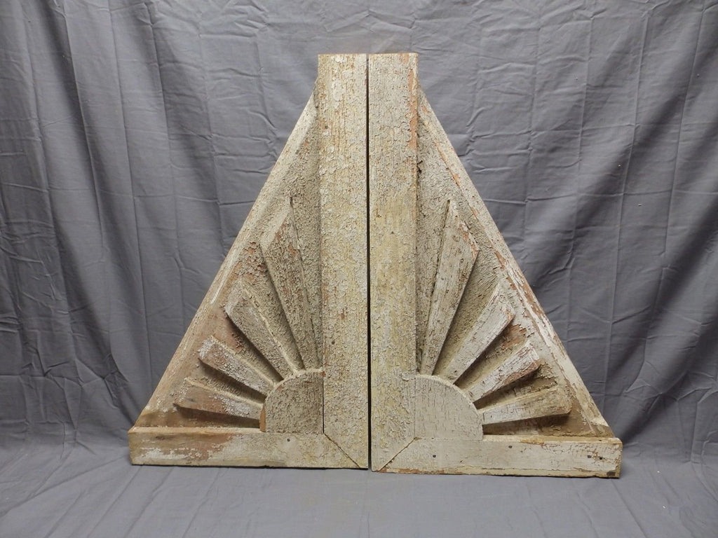 Lrg Antique Sunburst Wood Corbels Roof Brackets Fan Pediment Vtg Chic 388-18P
