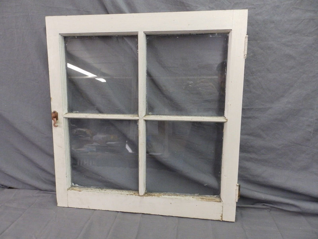 Antique 4 Lite Window Sash Glass Barn White Shabby Vtg Chic 25x24 534-17P