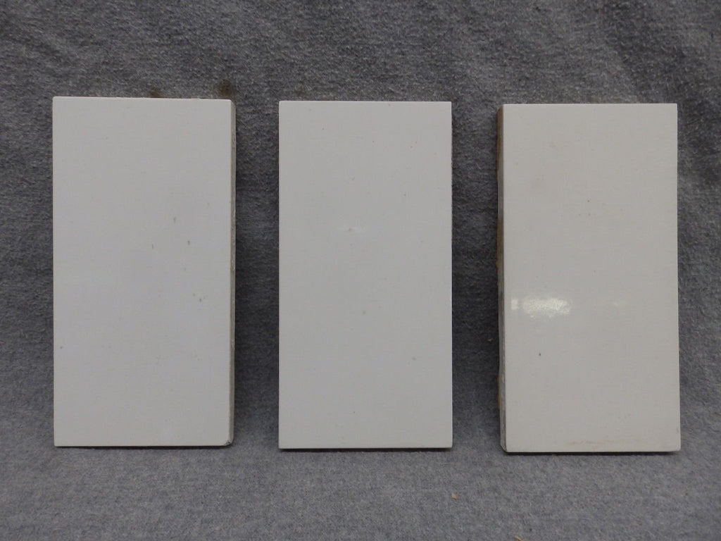 Set of 3 Antique Subway Tile Circa 1880 3x6 Thick Vintage 340-17R
