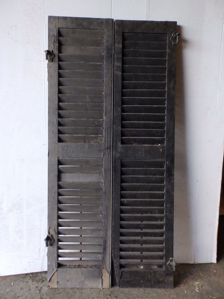 "Vtg Pr House Window Wood Louvered Shutter Shabby Old Chic 50"" X 12"" 5187-15"