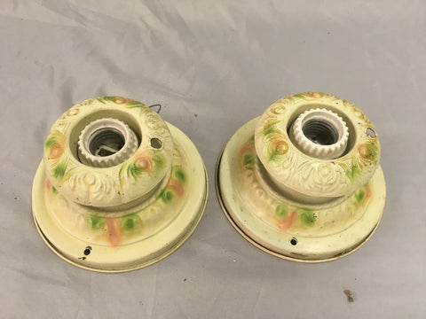 Pair Antique Pressed Tin Flush Mount Ceiling Light Old Vtg Fixtures 90-18E