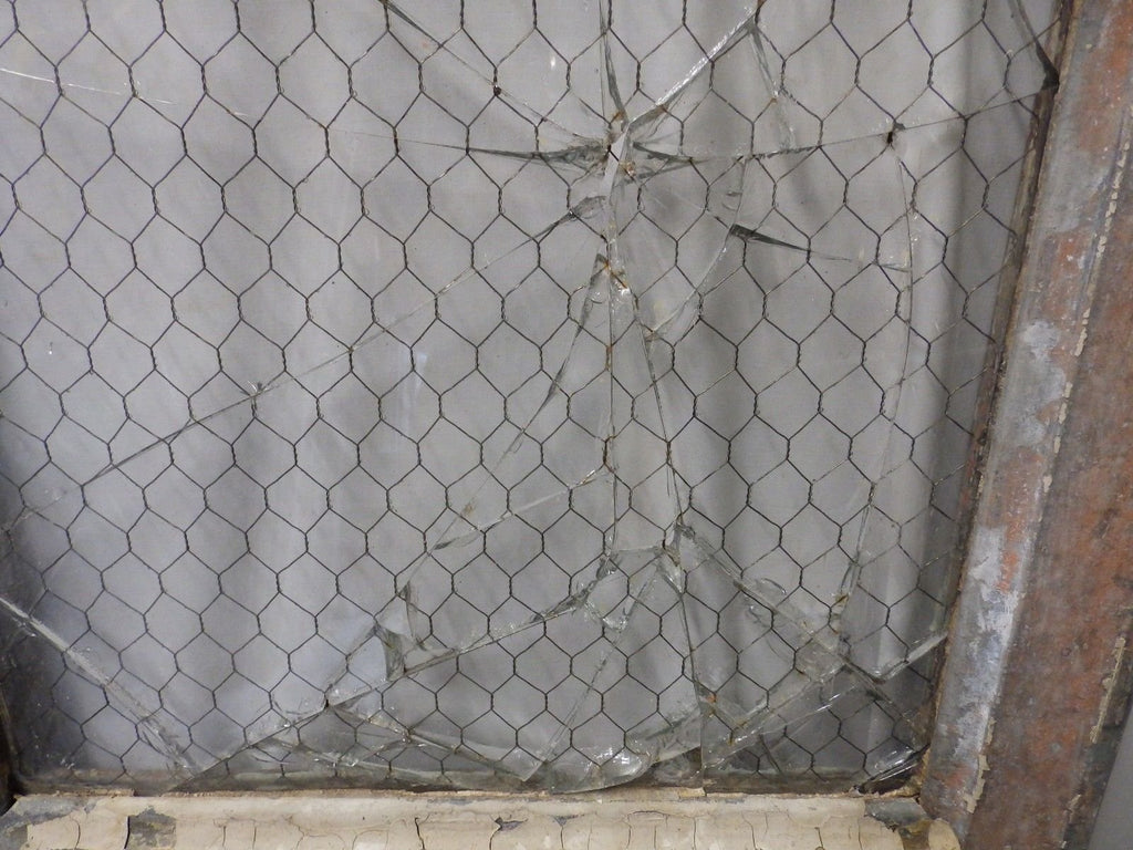 Antique Industrial Window Chicken Wire Factory Privacy Glass Vtg ...