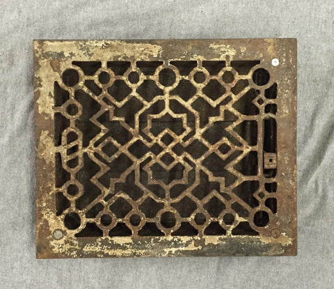 Antique Cast Iron Heat Grate Vent Register Old Vtg Hardware 9x10 991-16