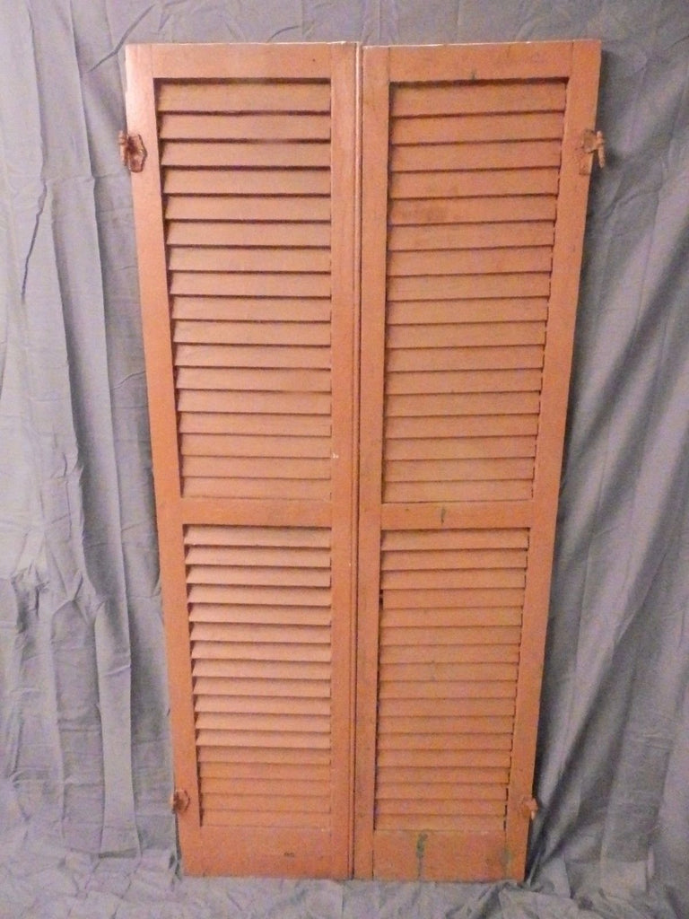 Pair Vtg House Window Wood Louvered Shutter Shabby Saloon Old Chic 67x16 644-17P