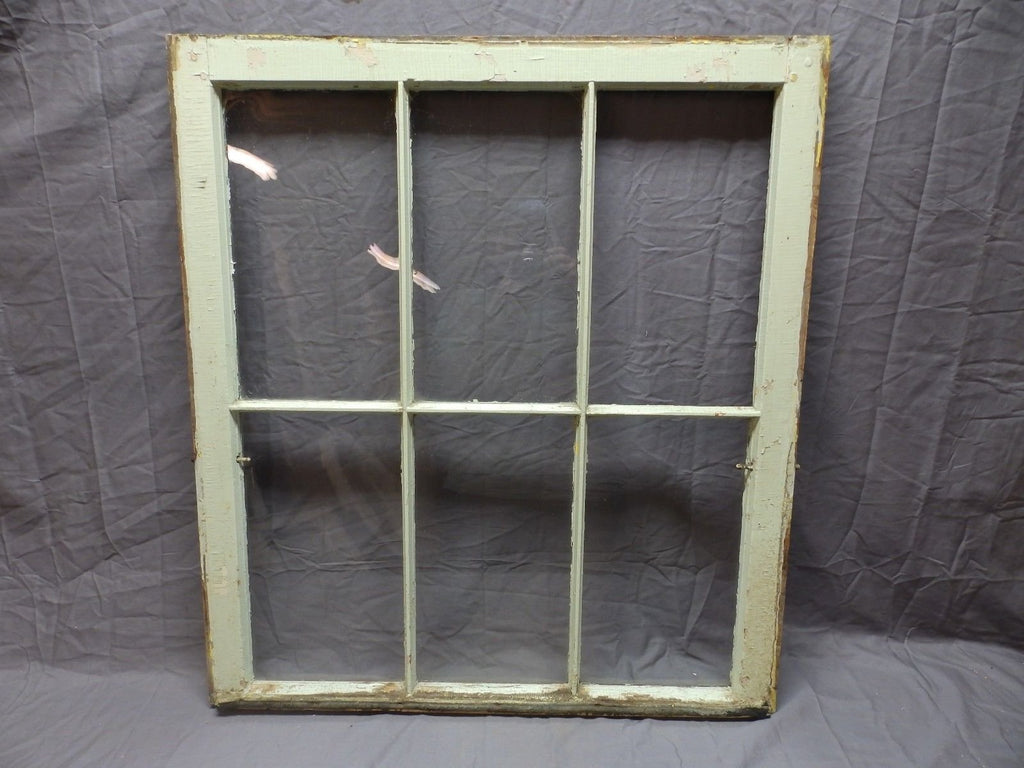 "Antique 6 Lite Window Sash 35""x32"" Green Shabby Country Vtg Chic Old 583-18P"
