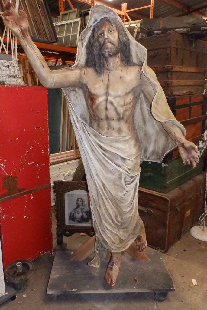 Vintage Life Size Plaster Jesus Christ Statue Glass Eyes Resurrection 514-16