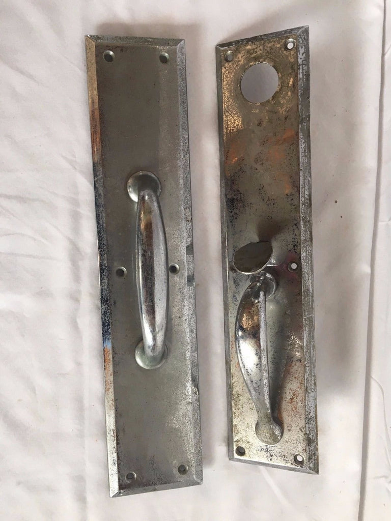 Pair Antique Industrial Chrome  Brass Push Pull Door Handle Vtg Hardware 55-17J