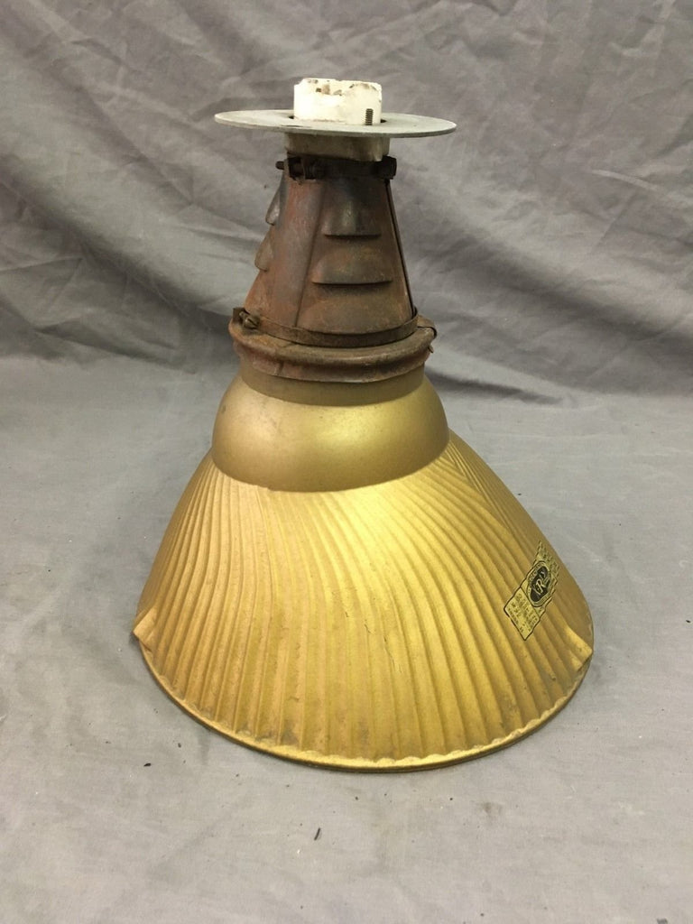 Vtg Industrial X Ray Light Gold Mercury Shade Factory Curtis Steampunk 132-18E