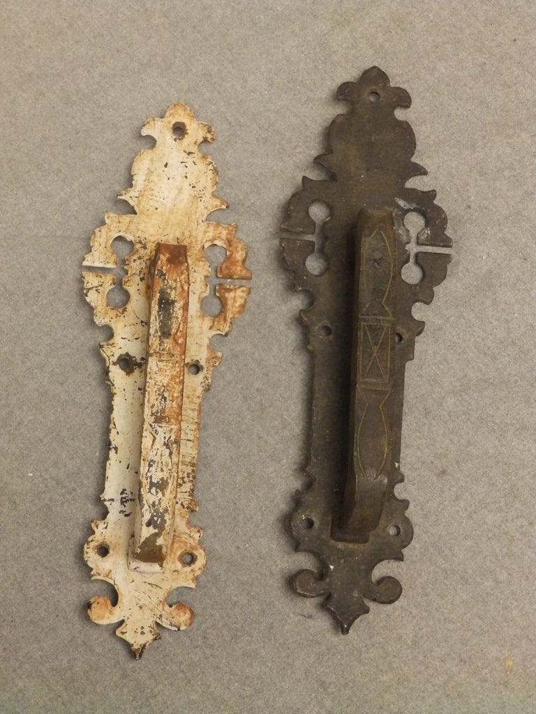 Pair Vintage Wrought Iron Heavy Industrial Door Pulls Old Hardware 393-16