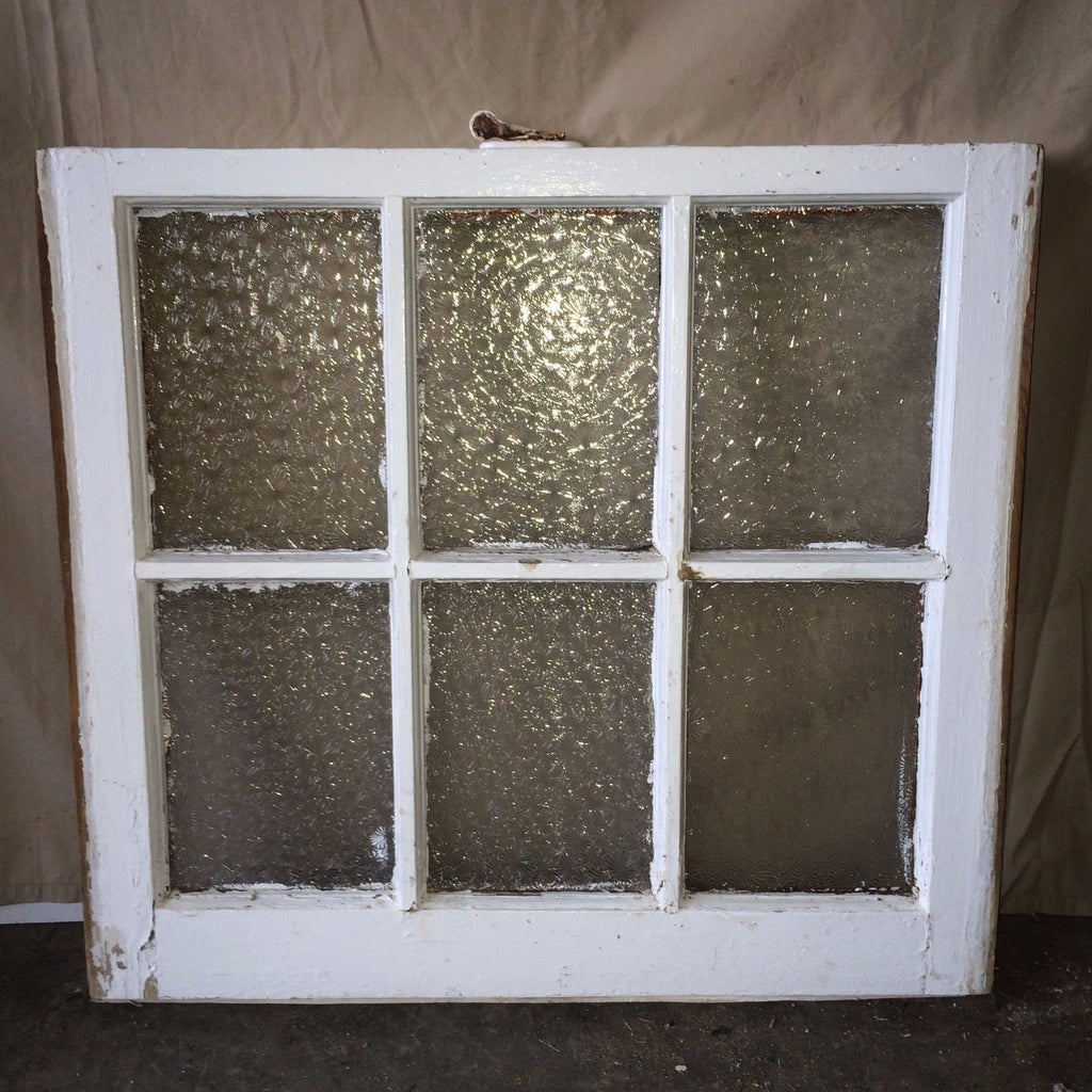 Old Antique Florentine Privacy Glass Wood House 6 Lite Window Sash 1776-16