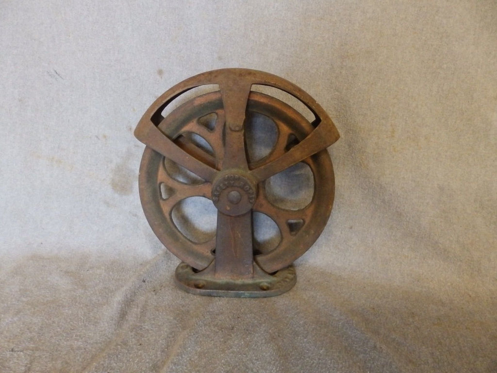 Antique Industrial Theater Stage Curtain Cast Iron Pulley Steampunk Vtg 435-17P