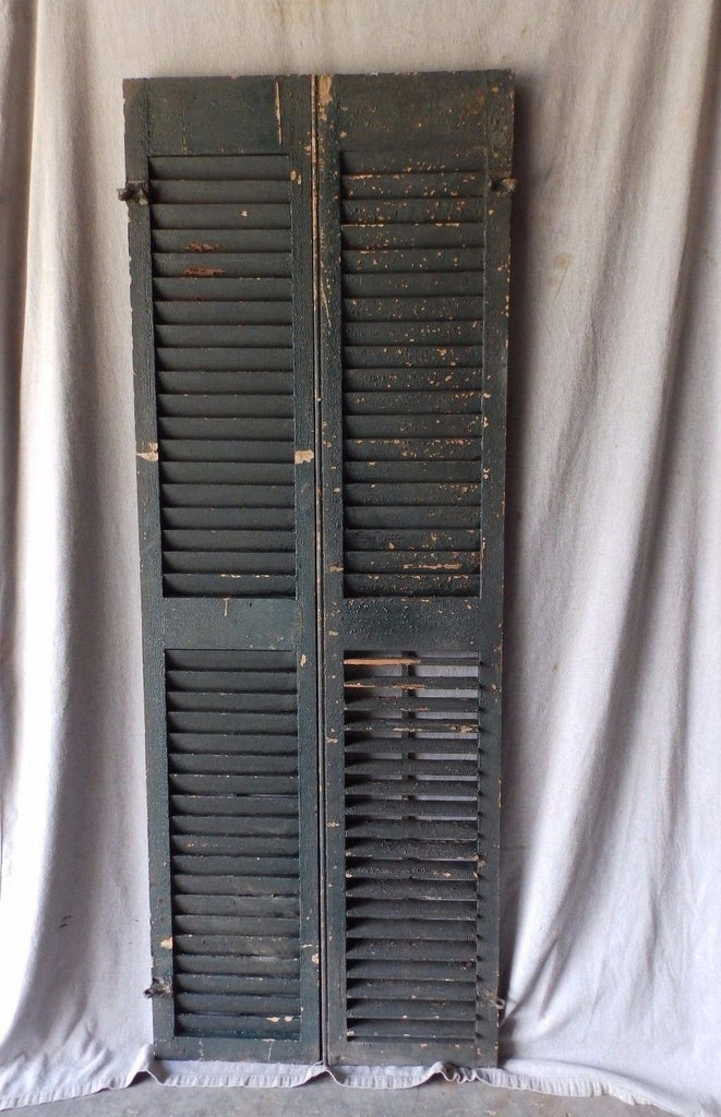 Pair Antique Window Wood Louvered Shutter Shabby Old Chic Vintage 70X12 59-17P