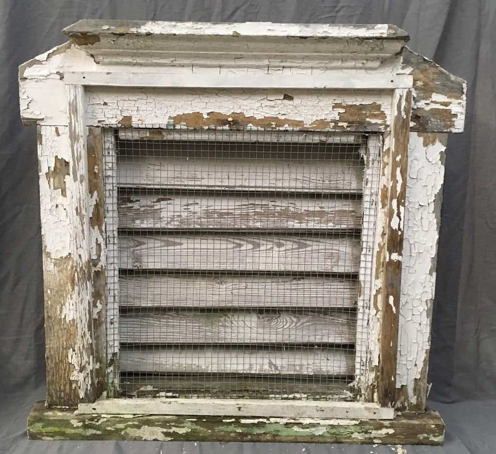 Antique Recessed Louvered Wood Attic Vent Old Vtg Shabby Cottage Chic 671-17E
