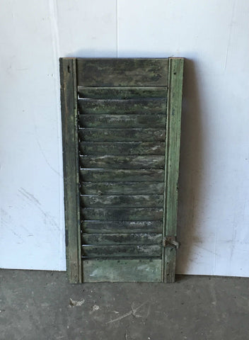 "1 Vtg House  Wood Louvered Shutter Shabby Old Chic 29"" X 14"" 844-16"