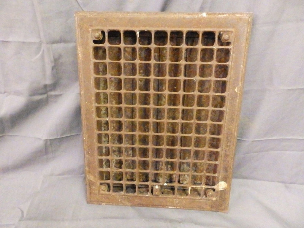 Antique Stamped Steel Heat Grate Register Vent Architectural Vtg 14x11 571-17P