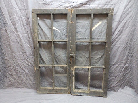 Antique Pr Casement Windows 39x17 Bookcase Cupboard Cabinet 6 Lite Door 566-18P