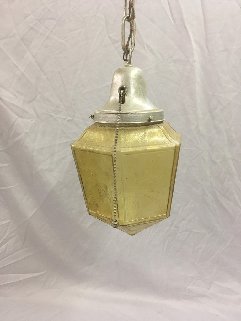 VIntage Pendant Ceiling Light FixtureLight Amber Stained Hexagon Globe 105-18E
