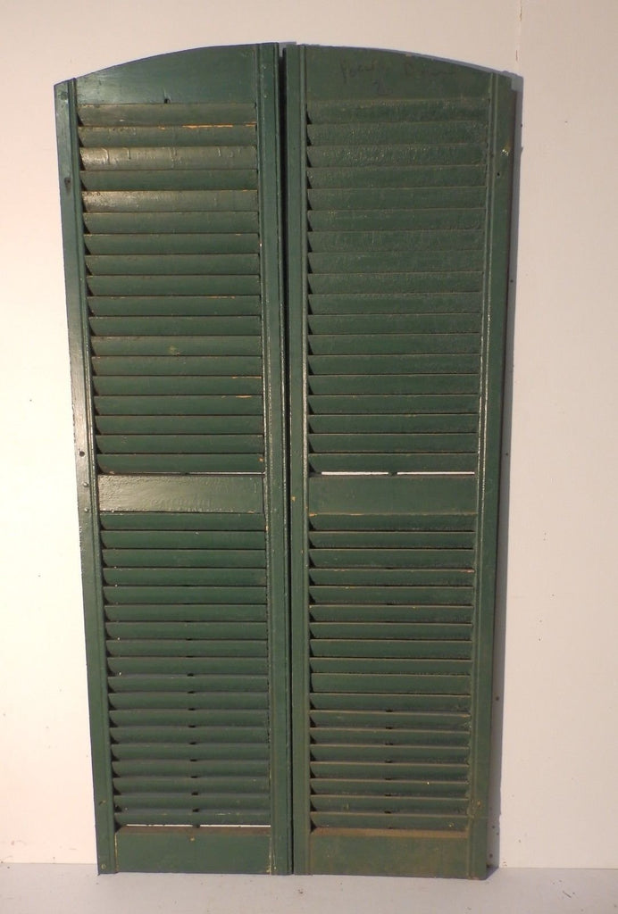 Pair Antique Arch Top House Window Wood Louvered Shutters Shabby 69X18 449-17P
