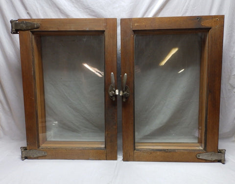 PAIR of Antique Oak Glass Cooler Doors Nickle Over Brass Steampunk Vtg 455-18P