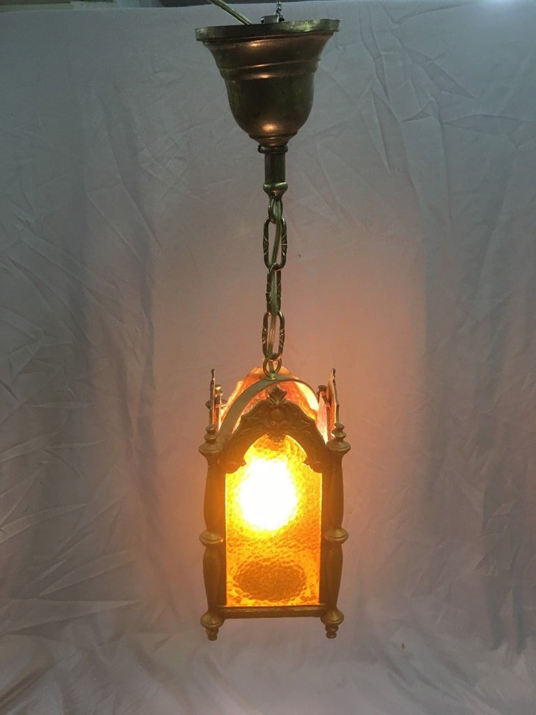 Antique Polychrome Cast Pendant Ceiling Light Amber Stained Glass Vtg 100-18E