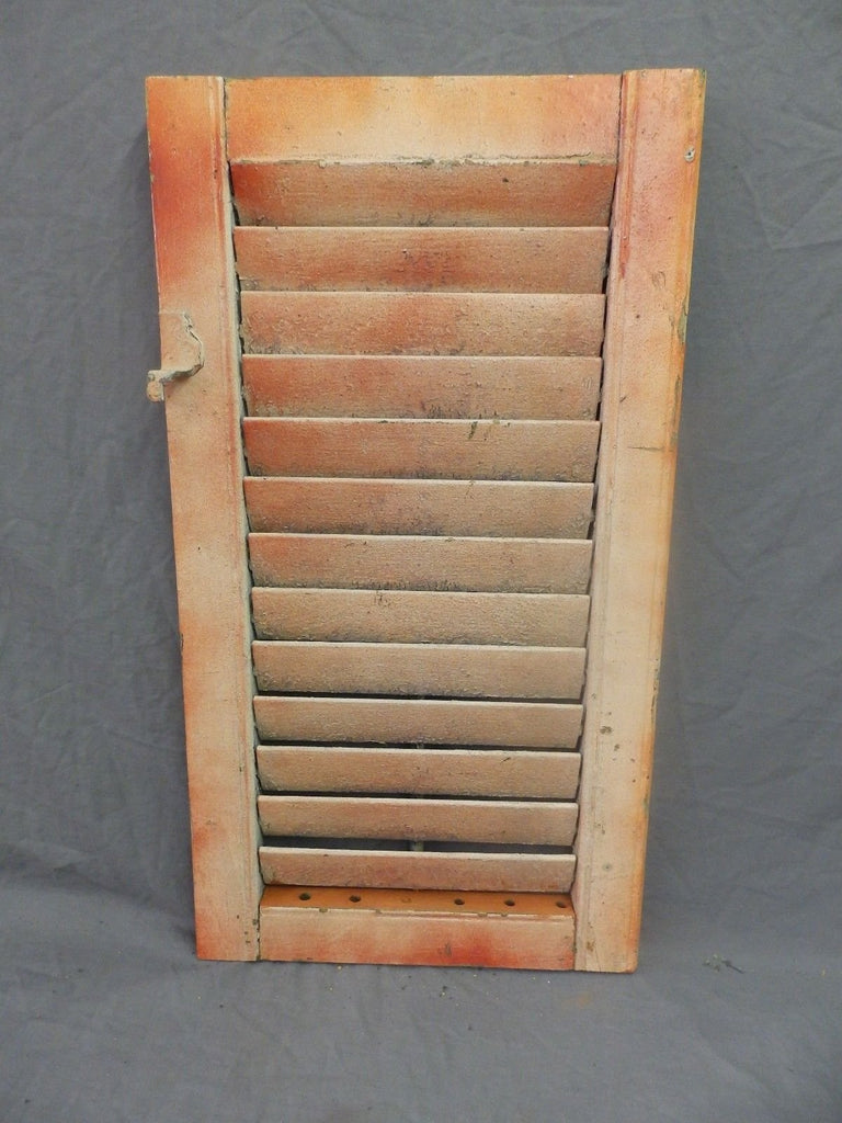 Single Antique House Window Wood Louvered Shutter 26x14 Shabby Vtg Chic 307-18P