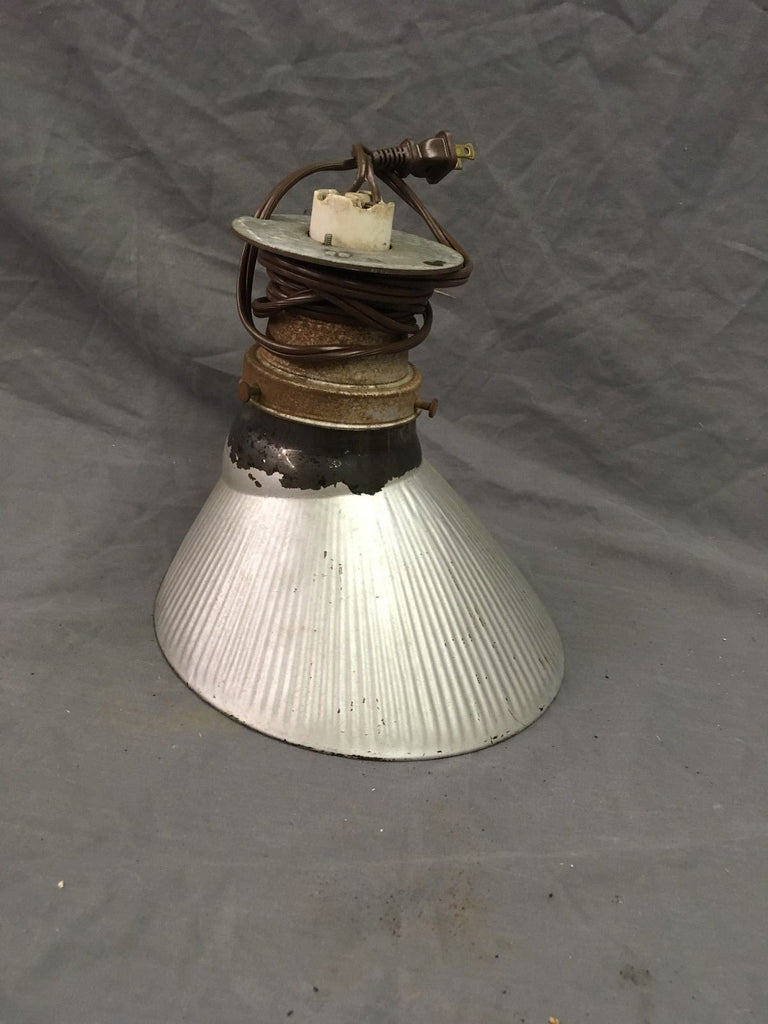 Vintage Industrial Ceiling Light Silver Mercury Glass Shade Steampunk 133-18E